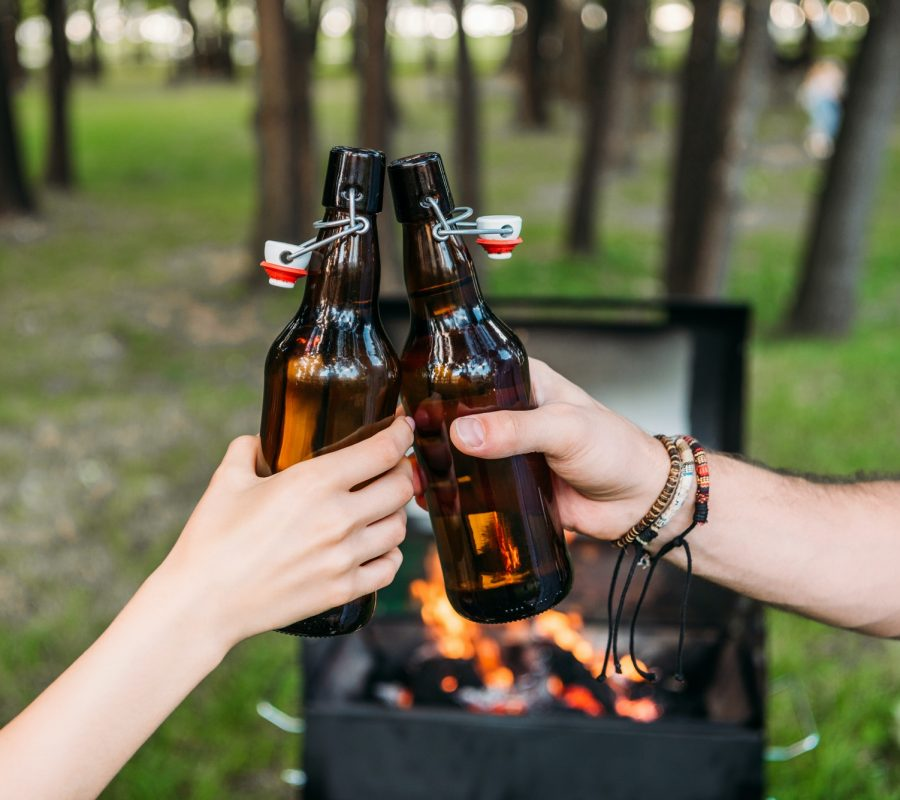 Cropped Shot of Couple Clinking Bottles of Beer During Bbq in Park